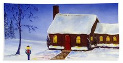Beach Towel featuring the painting Christmas Eve by Lee Piper