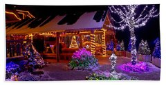Christmas Fantasy Lodge And Tree Lights Beach Sheet by Brch Photography