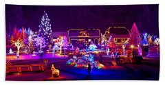 Christmas Fantasy Trees And Houses In Lights Beach Sheet