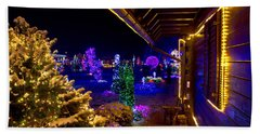 Christmas Fantasy Trees And Wooden House In Lights Beach Sheet