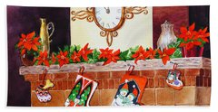 Christmas Fireplace Time For Holidays Beach Towel