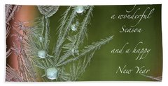 Beach Sheet featuring the mixed media Christmas Greeting Card Ice Flowers by Peter v Quenter
