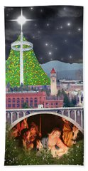 Christmas In Spokane Beach Towel