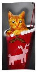 Christmas Kitten Beach Towel by Ken Morris