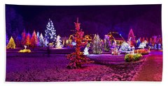 Christmas Lights In Town Park - Fantasy Colors Beach Sheet by Brch Photography