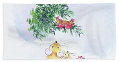 Christmas Mice And Robins Beach Towel by Diane Matthes
