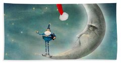 Christmas Moon Beach Towel