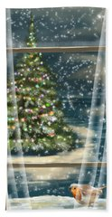 Christmas Night Beach Towel