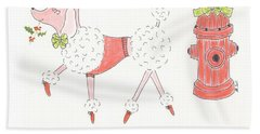 Beach Sheet featuring the painting Christmas Poodle by Stephanie Grant