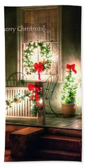 Christmas Porch Beach Towel