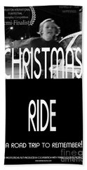 Christmas Ride Poster B And W Beach Towel