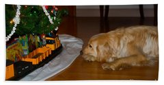Christmas Train Beach Towel