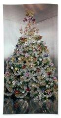 Christmas Tree Decorated By Gloria Vanderbilt Beach Towel