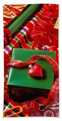 Christmas Wrap With Heart Ornament Beach Towel