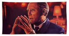 Christopher Walken Painting Beach Sheet by Paul Meijering