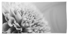 Chrysanthemum In Black And White Beach Towel