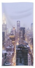Chrysler Building And Skyscrapers Covered In Snow - New York City Beach Towel