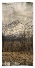 Chugach Mountains In Storm Beach Sheet