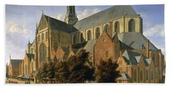 Church Of St. Bavo In Haarlem, 1666 Oil On Panel Beach Towel by Gerrit Adriaensz Berckheyde