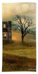 Church Ruin With Stormy Skies Beach Towel