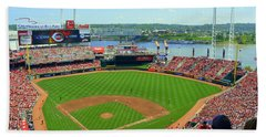 Cincinnati Reds Stadium Beach Towel by Kathy Barney
