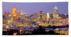 Cincinnati Skyline At Dusk Sunset Color Panorama Ohio Beach Sheet