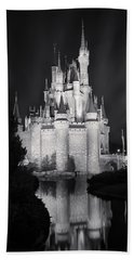 Cinderella's Castle Reflection Black And White Beach Towel