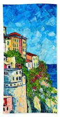 Cinque Terre Italy Manarola Painting Detail 3 Beach Towel