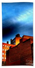 Old Buildings Of New York City With Ghost Ad - City Blocks - Building Blocks Series - Vertical Beach Sheet