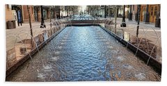 Beach Towel featuring the photograph City Creek Fountain - 1 by Ely Arsha