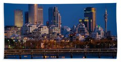 city lights and blue hour at Tel Aviv Beach Sheet by Ron Shoshani
