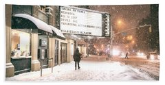 City Lights And Snow At Night - New York City Beach Towel