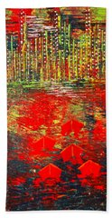 City Lights - Sold Beach Towel by George Riney