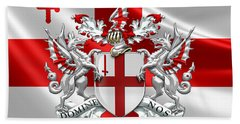 City Of London - Coat Of Arms Over Flag  Beach Towel