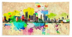 City Of Miami Grunge Beach Towel by Daniel Janda