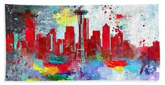 City Of Seattle Grunge Beach Towel by Daniel Janda