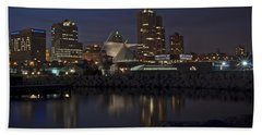 Beach Towel featuring the photograph City Reflection by Deborah Klubertanz