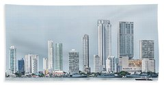 City Skyline, Bocagrande, Cartagena Beach Towel