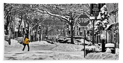 City Snowstorm Beach Towel