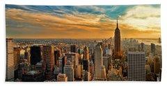 City Sunset New York City Usa Beach Towel