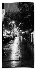 City Walk In The Rain Beach Towel by Mike Ste Marie