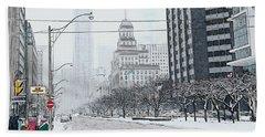 City In Winter Beach Sheet by Yvonne Wright