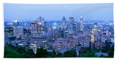 Cityscape At Dusk, Montreal, Quebec Beach Towel