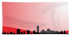 Cityscapes - Miami Skyline In Black On Red Beach Towel by Serge Averbukh