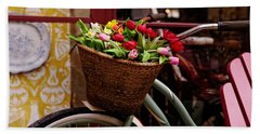 Classic Bike With Tulips Beach Towel