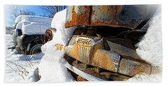 Classic Ford Pickup Truck In The Snow Beach Towel