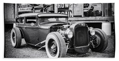 Classic Hot Rod In Black And White Beach Sheet by Thomas Young