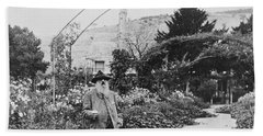 Claude Monet In His Garden At Giverny Beach Towel