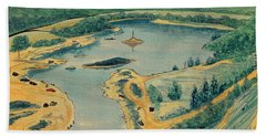 Beach Towel featuring the painting Clearwater Lake Early Days by Kip DeVore