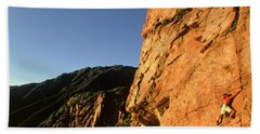 Climber Solos At Sunset Beach Towel